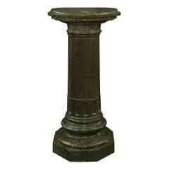 Italian 19th Century Green Marble Three-Piece Pedestal