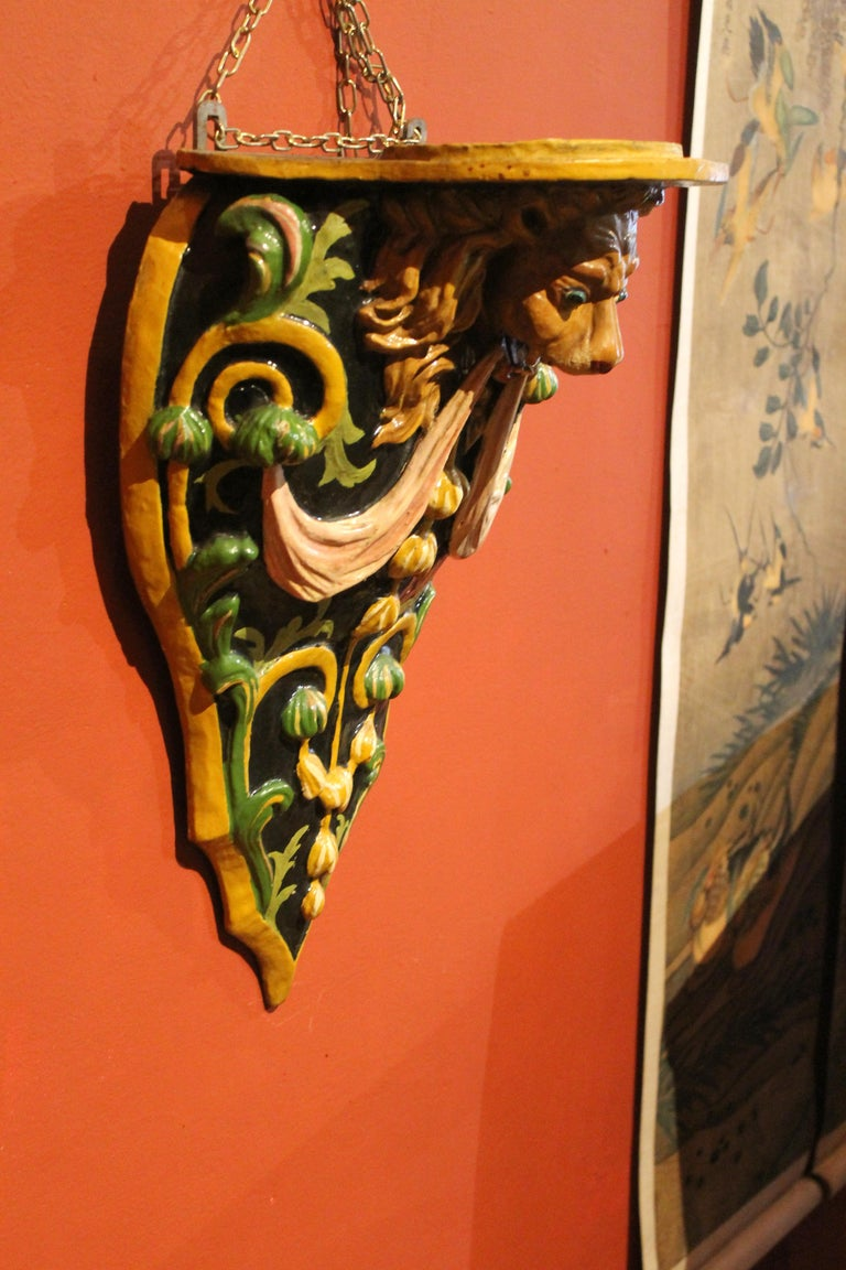 Italian 19th Century Hand Carved and Lacquer Wood Wall Brackets with Lion Heads For Sale 3