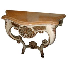 Italian 19th Century Hand Carved Hand Painted Wood Console Table with Marble Top