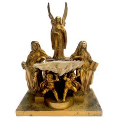 Italian 19th Century Holy Water Font Gilt Group Sculpture with Cherubs and Shell
