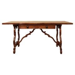Italian 19th Century Honey Colored Oak Center Table or Desk