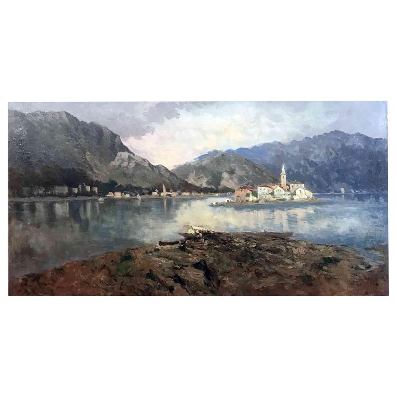 19th Century Italian Lago Maggiore Landscape Lake Maggiore Isola Dei Pescatori