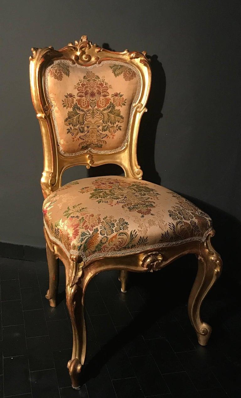 19th Century Drawing Room: Italian 19th Century Living Room Suite Gilt Salon Eleven