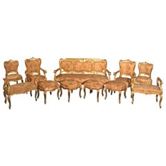 Italian 19th Century Living Room Suite Gilt Salon Eleven Piece, 1850