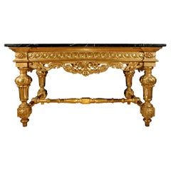 Italian 19th Century Louis XIV St. Giltwood Center Table