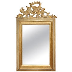 Italian 19th Century Louis XIV Style Patinated and Gilt Mirror