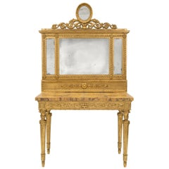 Italian 19th Century Louis XIV Style Giltwood and Marble Console