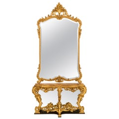 Italian 19th Century Louis XV Style Giltwood and Marble Console/Matching Mirror