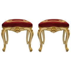 Italian 19th Century Louis XV St. Patinated and Giltwood Stools