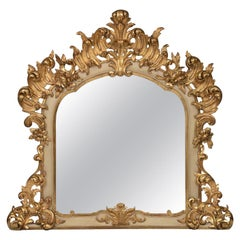Italian 19th Century Louis XV St. Patinated off White and Giltwood Mirror