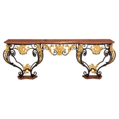 Italian 19th Century Louis XV St. Wrought Iron and Marble Console Table