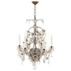 Italian 19th Century Louis XV Style Crystal, Cut Glass and Iron Chandelier