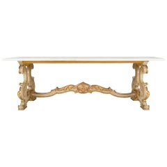 Italian 19th Century Louis XV Style Giltwood and Carrara Marble Coffee Table