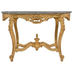 Italian 19th Century Louis XV Style Giltwood and Marble Oval Center Table