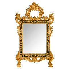 Italian 19th Century Louis XV Style Giltwood and Polychrome Mirror