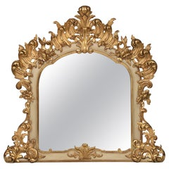 Italian 19th Century Louis XV Style Patinated off White and Giltwood Mirror