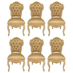 Italian 19th Century Louis XV Style Set of Six Patinated and Giltwood Chairs