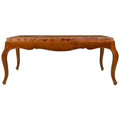 Italian 19th Century Louis XV Style Walnut and Marble Coffee Table