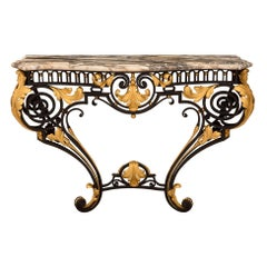 Italian 19th Century Louis XV Style Wrought Iron, Gilt Metal and Marble Console