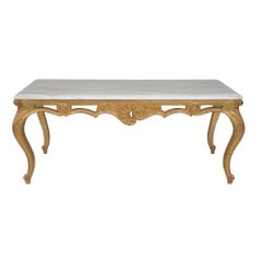 Italian 19th Century Louis XVI St. Giltwood and Marble Coffee Table