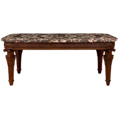 Italian 19th Century Louis XVI St. Oak and Brèche De Médicis Marble Coffee Table