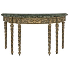 Italian 19th Century Louis XVI St. Patinated and Vert De Patricia Marble Console