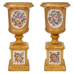 Italian 19th Century Louis XVI Style Capodimonte Porcelain Urns