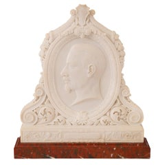 Italian 19th Century Louis XVI Style Carrara and Griotte Marble Plaque