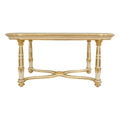 Italian 19th Century Louis XVI Style Giltwood and Marble Center Table
