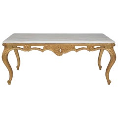 Italian 19th Century Louis XVI Style Giltwood and Marble Coffee Table