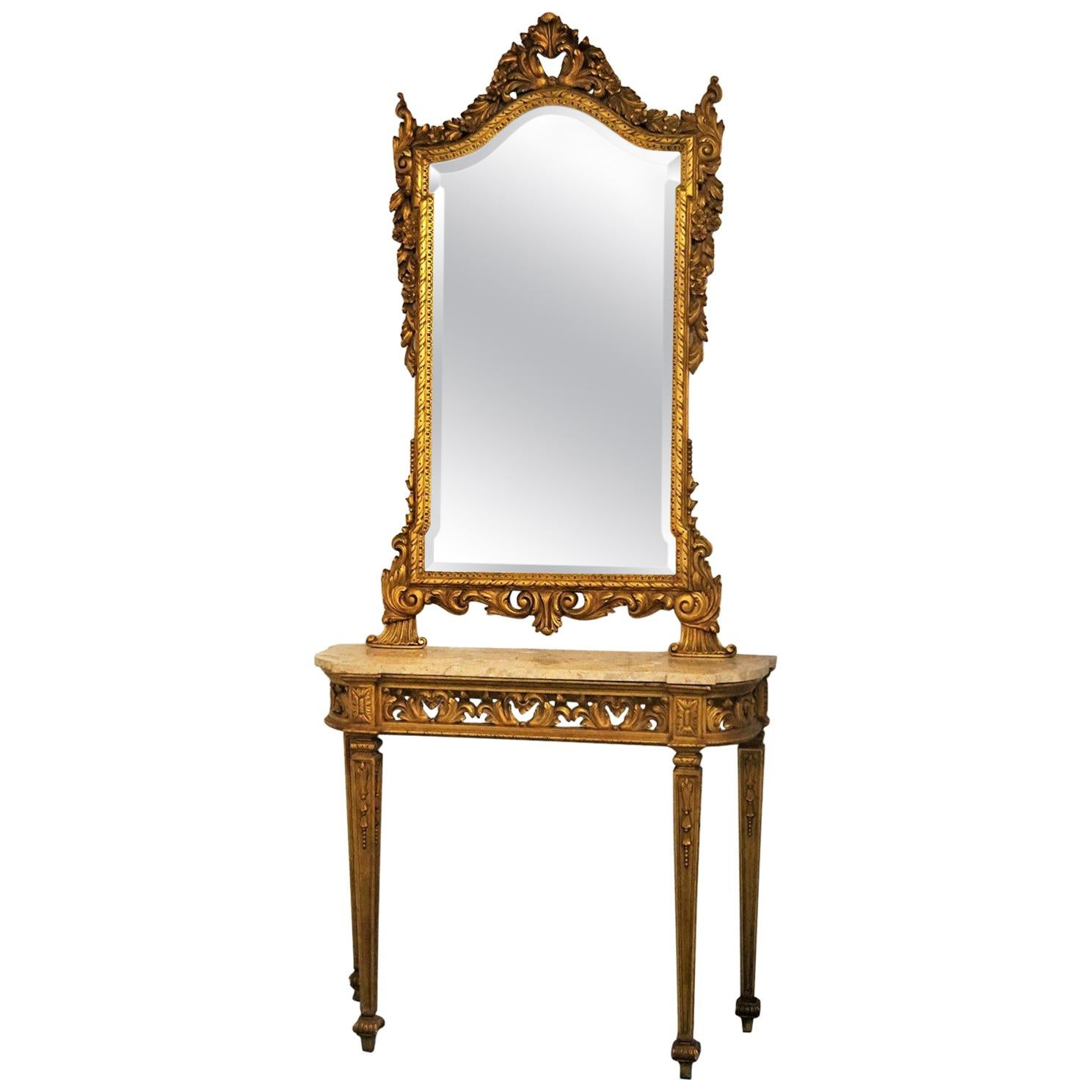 Italian 19th Century Louis XVI Style Giltwood Console Table and Mirror