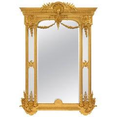 Italian 19th Century Louis XVI Style Giltwood Double Framed Mirror