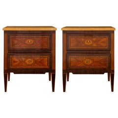 Italian 19th Century Louis XVI Style Kingwood, Tulipwood and Marble Commodes
