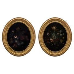 Italian 19th Century Louis XVI Style Oval Reverse Painted on Glass Still Lifes