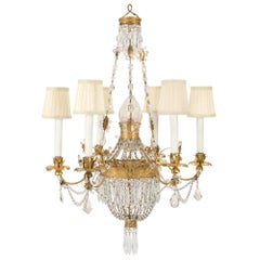 Italian 19th Century Louis XVI Style Rock Crystal and Gilt Metal Chandelier