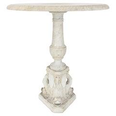 Italian 19th Century Louis XVI Style Solid White Carrara Marble Side Table