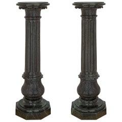 Italian 19th Century Louis XVI Style Verde Antico Marble Column Pedestals, Pair