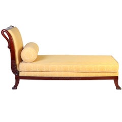 Italian 19th Century Mahogany Swan Neck Sofa or Chaise Longues Tuscany, 1820