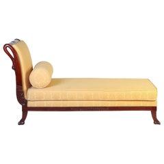 Italian 19th Century Mahogany Swan Neck Sofa or Chais Longues, Tuscany, 1820