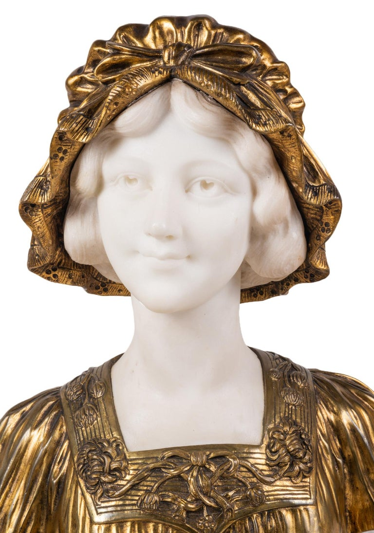 Hand-Carved Italian 19th Century Marble and Bronze Bust of a Lady in a Bonnet, circa 1880 For Sale