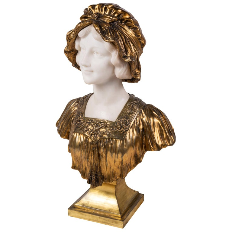 Italian 19th Century Marble and Bronze Bust of a Lady in a Bonnet, circa 1880 For Sale