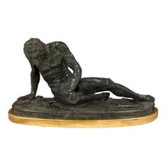 Italian 19th Century Marble and Giltwood Statue of The Dying Gaul