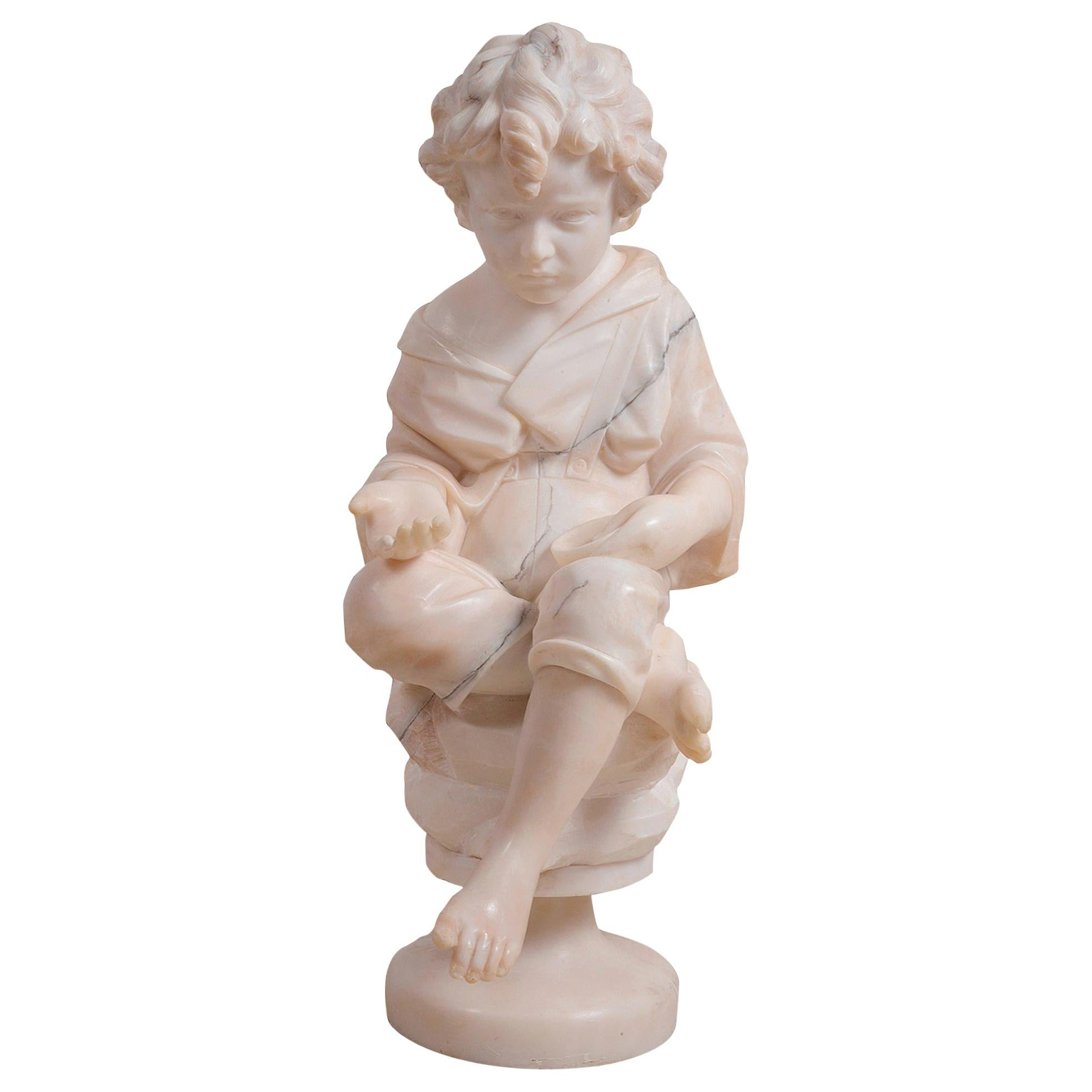 Italian 19th Century Marble Statue of a Young Beggar Boy