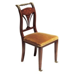 Italian 19th Century Marquetry and Bronze Empire Side Chair