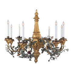 Italian 19th Century Metal and Porcelain Eight-Light Chandelier