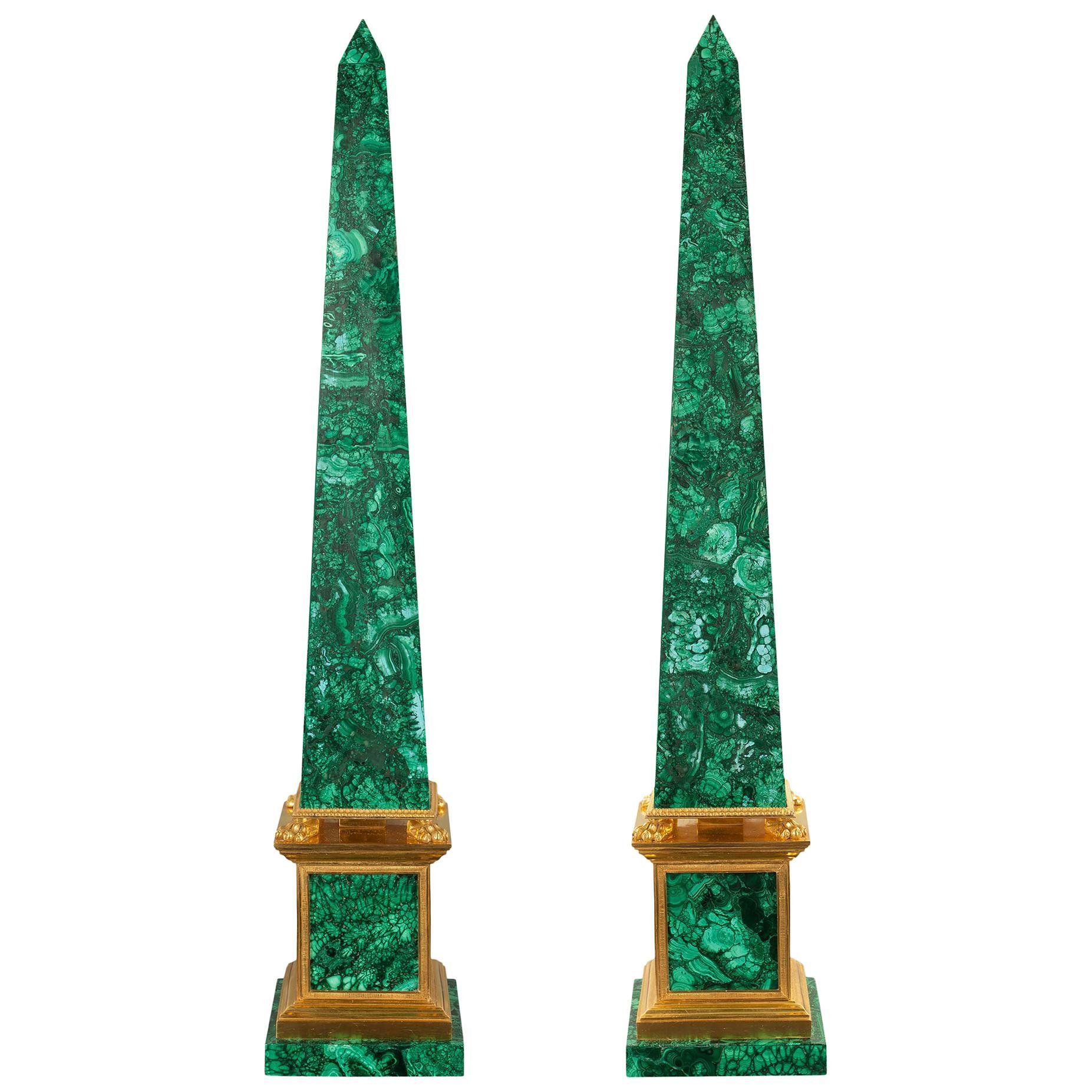 Italian 19th Century Neoclassical Style Malachite and Ormolu Obelisks