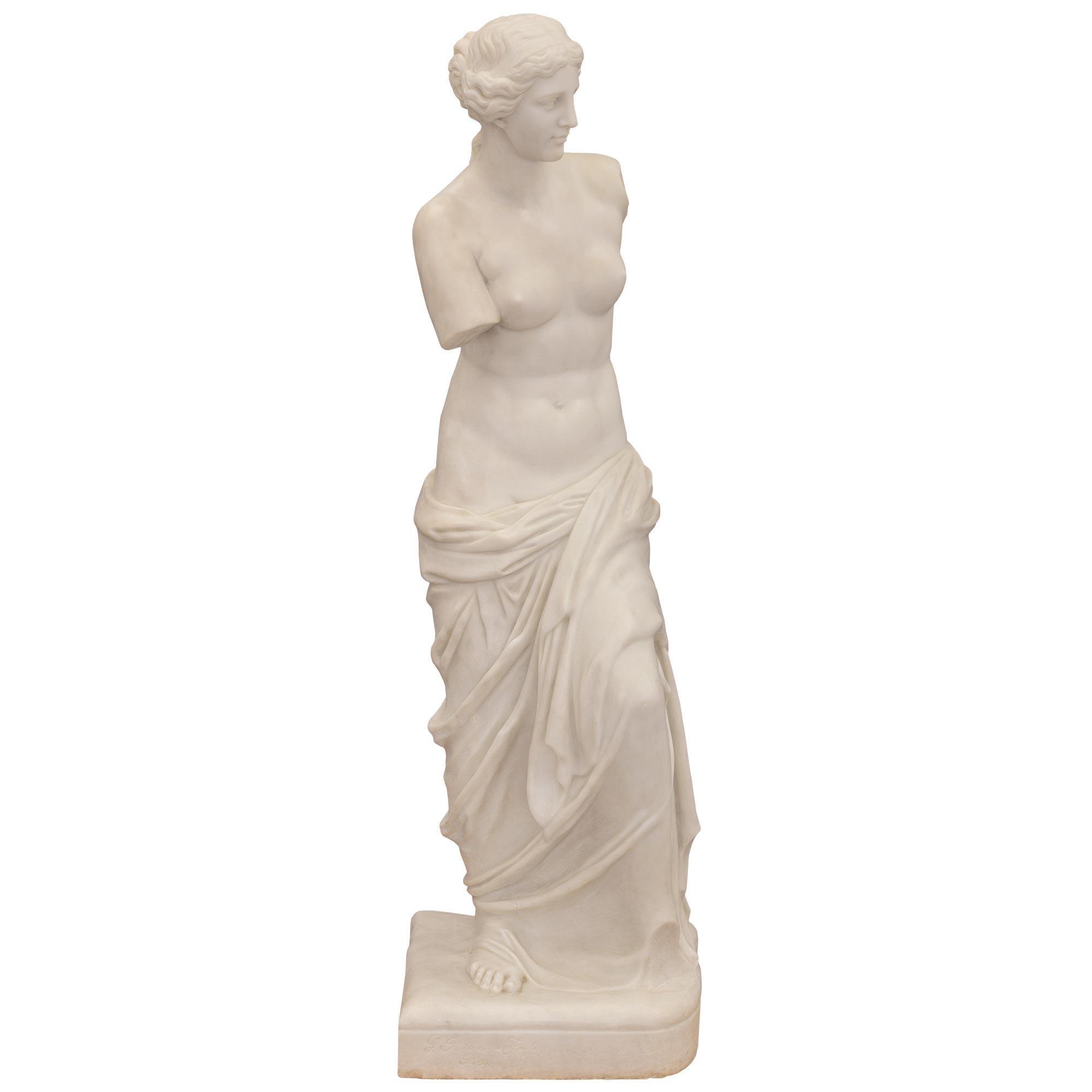 Italian 19th Century Neo-Classical St. Marble Statue of Venus De Milo
