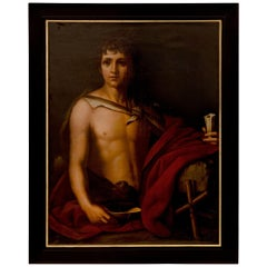 Italian 19th Century Neoclassical Style Oil on Canvas Painting of a Young Man