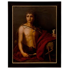 Italian 19th Century Neo-Classical St. Oil on Canvas Painting of a Young Man
