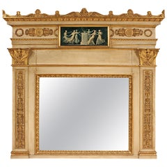 Italian 19th Century Neoclassical Style Patinated and Giltwood Trumeau